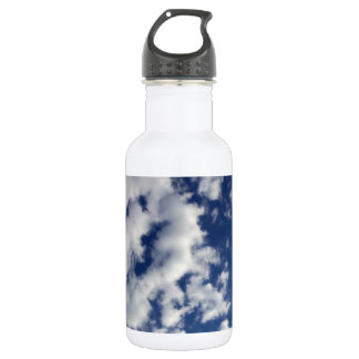 Puffy Clouds On Blue Sky Water Bottle