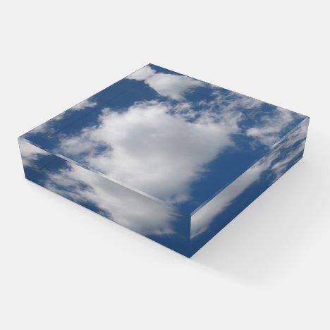 Puffy Cumulus Clouds in Blue Sky Paperweight