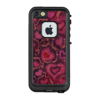 Puffy hearts, romantic love, pink red & burgundy LifeProof FRĒ iPhone SE/5/5s case