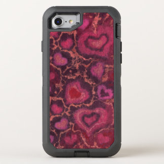 Puffy hearts, romantic love, pink red & burgundy OtterBox defender iPhone 8/7 case