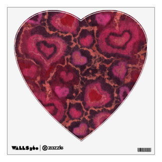 Puffy hearts, romantic love, pink red & burgundy wall sticker