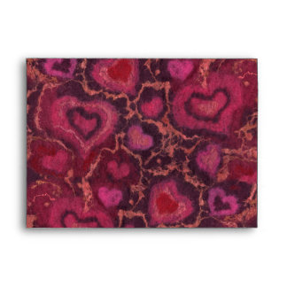 Puffy hearts romantic love pink red valentines day envelope