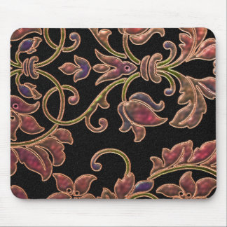 Puffy Look Damask on Black Mouse Pad