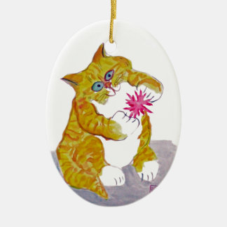 Puffy Play, Orange Tiger Kitten's Favorite Toy Ceramic Ornament