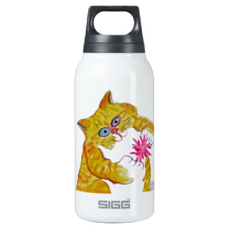 Puffy Play, Orange Tiger Kitten's Favorite Toy Insulated Water Bottle