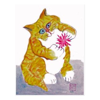 Puffy Play, Orange Tiger Kitten's Favorite Toy Postcard
