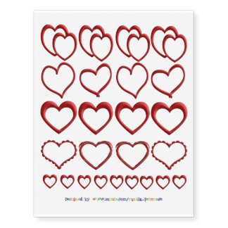 Puffy Red Hearts Temporary Tattoos