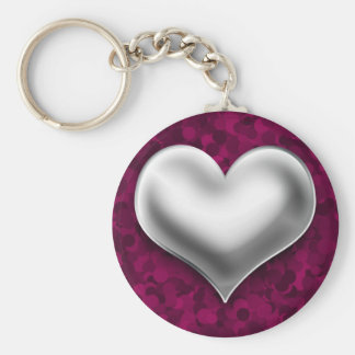 Puffy Silver heart on Pink Keychain