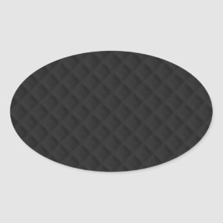 Puffy Stitched Black Quilted Leather Oval Sticker
