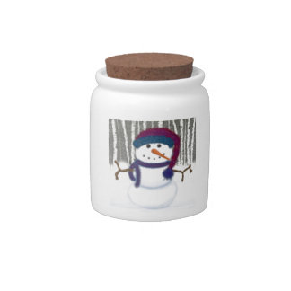 Puffy The Snowman Candy Jar