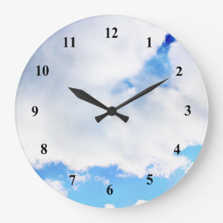 Puffy White Clouds and Blue Sky Large Clock