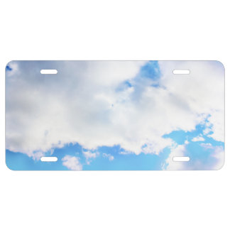 Puffy White Clouds and Blue Sky License Plate