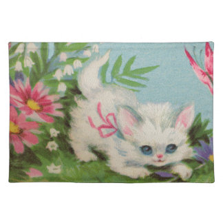 Puffy White Kitten Cloth Placemat