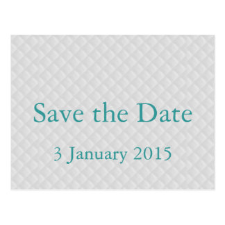 Puffy White Quilted Leather Save the Date Card Post Cards