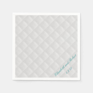 Puffy White Quilted Leather Wedding Napkins Standard Cocktail Napkin