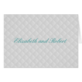 Puffy White Quilted Leather Wedding Note Card
