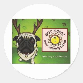 pug2 classic round sticker