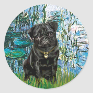 Pug 13 (black) - Lilies 1 Classic Round Sticker