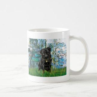 Pug 13 (black) - Lilies 1 Coffee Mug