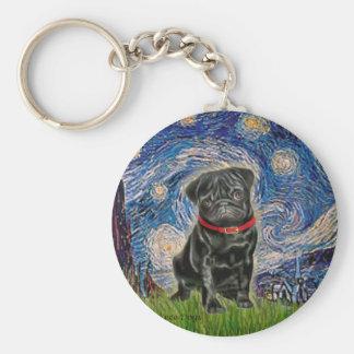 Pug 13 (black) - Starry Night Keychain