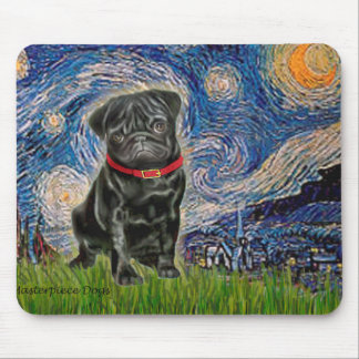 Pug 13 (black) - Starry Night Mouse Pad