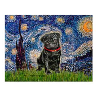 Pug 13 (black) - Starry Night Post Card