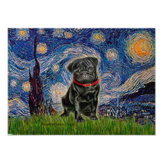 Pug 13 (black) - Starry Night Poster