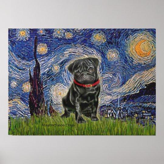 Pug 13 (black) - Starry Night Poster