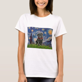 Pug 13 (black) - Starry Night T-Shirt