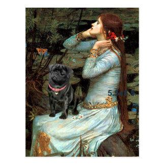 Pug 14 (black) - Ophelia Seated Postcard