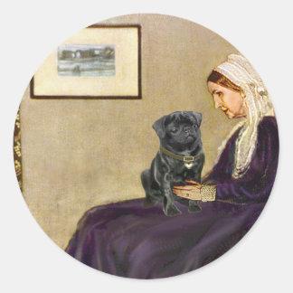 Pug 14 (black) - Whistler's Mother Classic Round Sticker