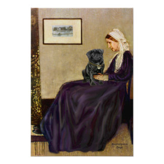 Pug 14 (black) - Whistlers Mother Poster