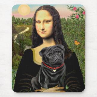 Pug 16 (black) - Mona Lisa Mouse Pad