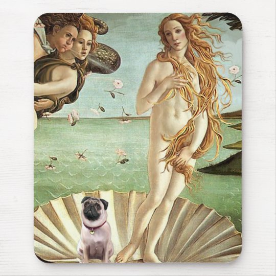 Pug 1 - Birth of Venus Mouse Pad