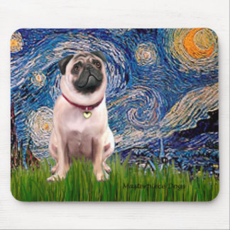 Pug 1(fawn)  - Starry Night Mouse Pad
