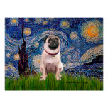 Pug 1(fawn)  - Starry Night Poster