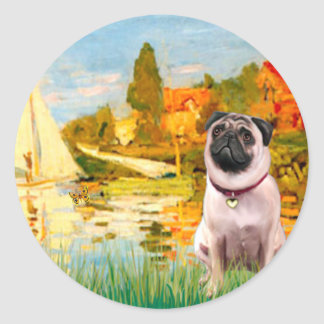 Pug 1 - Sailboats 2 Round Stickers