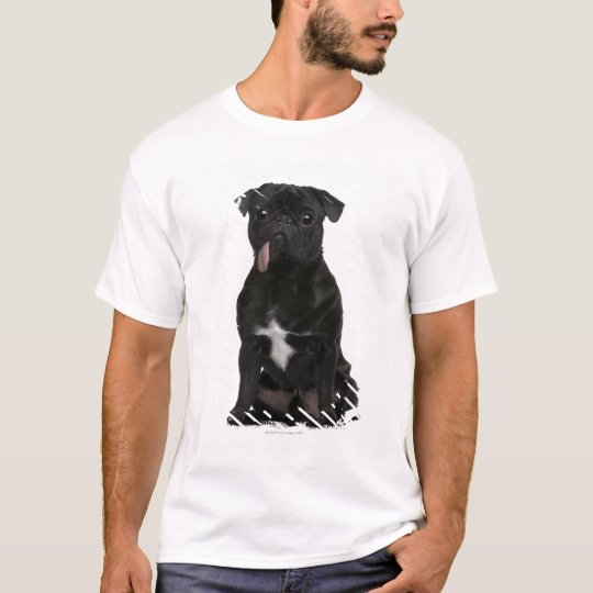 Pug (1 year old) sitting with its tongue hanging T-Shirt