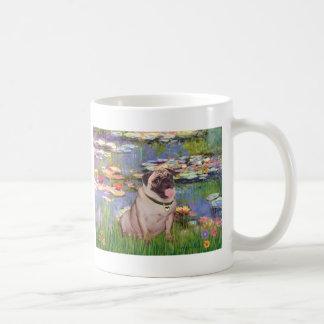 Pug 2 (fawn) - Lilies 2 Coffee Mug