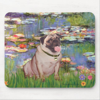 Pug 2 (fawn) - Lilies 2 Mouse Pad