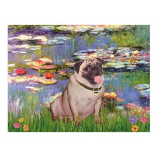 Pug 2 (fawn) - Lilies 2 Postcard