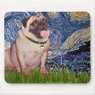 Pug 2 - Starry Night Mouse Pad