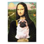 Pug 3 (fawn) - Mona Lisa Greeting Card