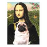 Pug 3 (fawn) - Mona Lisa Postcard