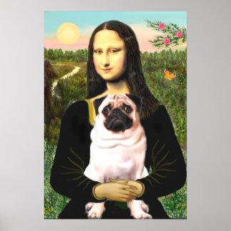 Pug 3 fawn - Mona Lisa Posters
