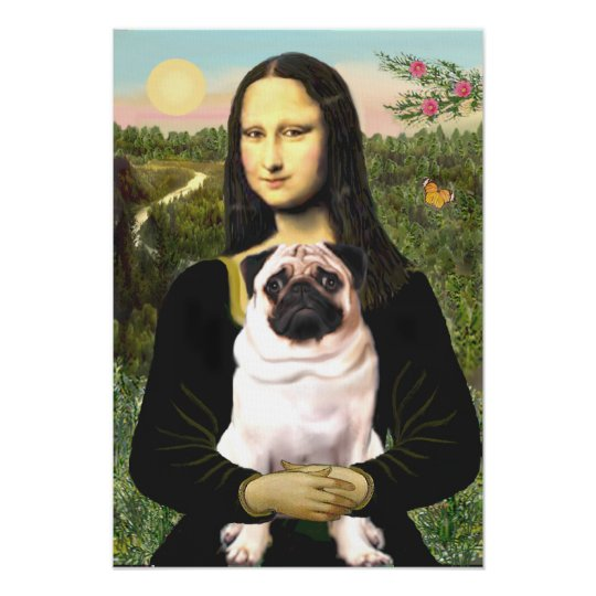 Pug 3 (fawn) - Mona Lisa Poster