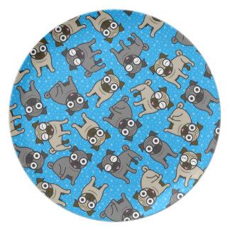 Pug-a-Dot (Blue) Dinner Plate