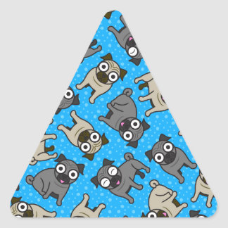 Pug-a-Dot (Blue) Triangle Sticker