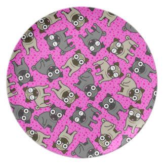 Pug-a-Dot (Pink) Plate