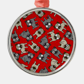 Pug-a-Dot (Red) Metal Ornament